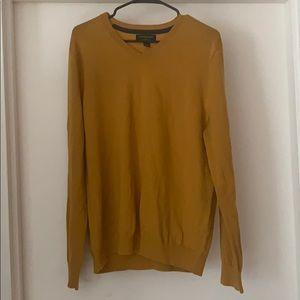 Golden Yellow Long sleeve V neck sweater